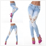 Blue Lace Hollow Out Women Denim Leggings