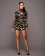 Black Sexy Long Sleeve Sequins Rompers