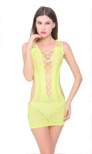 Yellow Crocheted Lace Hollow-out Chemise