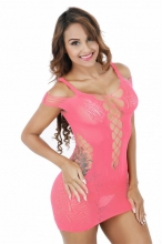 Pink Crocheted Lace Hollow-out Chemise