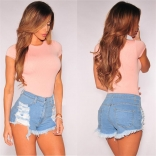 Light Blue Jeans Short Pants