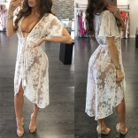 White Sexy Short Sleeve Lace Summer Dress