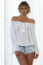 White Off shoulder Lace Sexy T-Skirt