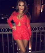 Red Long Sleeve Lace Hollow-out Sexy Dress Sets