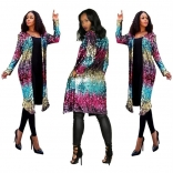 Blue Colors Long Sleeve Sequins Jacket