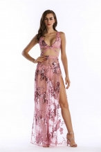Pink Halter Low-cut Mesh Sequins Sexy Long Dress