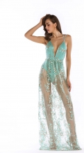 Green Halter Low-cut Mesh Sequins Sexy Long Dress