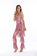 Pink Halter V-Neck Tassels Sequins Catsuit Dress