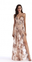 Beige Halter Low-cut Slit Sequins Dress