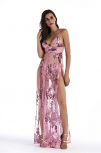 Pink Halter Low-cut Slit Sequins Dress