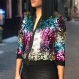 Colors Long Sleeve Sequins Women Jacket