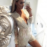 Golden Long Sleeve Sequins Short Rompers