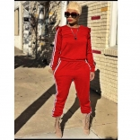 Red Long Sleeve Two-pieces Women Catsuit Dress