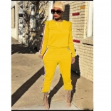 Yellow Long Sleeve Two-pieces Women Catsuit Dress