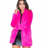 Rose Red Long Sleeve Fluffy Fur Coat