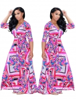 Pink Red Printed V-Neck Sexy Maxi Dress