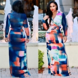 Blue  Long Sleeve Printed V-Neck Sexy Maxi Dress