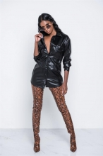Black Women Long Sleeve PU Leather Cardigans