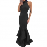 Black Sleeveless Slit Maxi Bodycons Women Dress