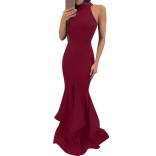 Red Sleeveless Slit Maxi Bodycons Women Dress