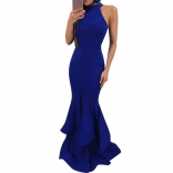 Blue Sleeveless Slit Maxi Bodycons Women Dress