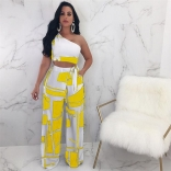 Yellow Off-shoulder Printed Two-pieces Club Dress
