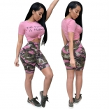 Pink Pants With Shorts Printed Dress Set