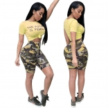 Yellow Pants With Shorts Printed Dress Set