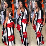 Red Sleeveless Low-cut Fashion Printed Maxi Dress
