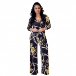 Black Long Sleeve Printed V-neck Jumpsuit Dress