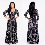Black Printed Seven Sleeve Long Eevning Dress