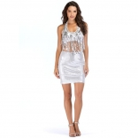 Silver Tassels Sequins Sexy Mini Dress