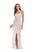 White Low-cut Lace Sexy Women Long Dress