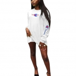 White Long Sleeve Champion Women T-Skirt