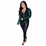 Green Long Sleeve Sequins Fashion Coat