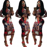 Red Long Sleeve Printed Sexy Midi Dress