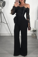 Black Long Sleeve Lace Women Sexy Jumpsuit