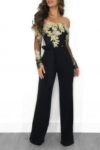 Golden Long Sleeve Lace Women Sexy Jumpsuit