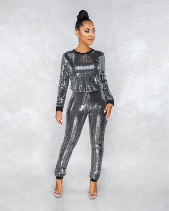 Black Long Sleeve Sequins Bodycons Sexy Women Jumpsuit