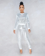 Silver Long Sleeve Sequins Bodycons Sexy Women Jumpsuit