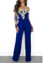 Blue Golden Long Sleeve Lace Women Sexy Jumpsuit