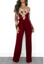 Red Long Sleeve Lace Women Sexy Jumpsuit