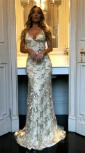 Beige Sleeveless Halter V-Neck Sequins Bodyons Evening Dress
