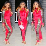 Red Long Sleeve Sequins Bodycons Sexy Jumpsuit