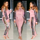 Pink Long Sleeve Sequins Bodycons Sexy Jumpsuit