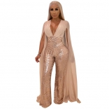Beige Sleeveless Low-cut Sequins Women Jumpsuit