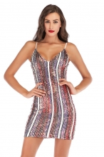 Red Sleeveless Halter Sequins Bodycons Mini Dress