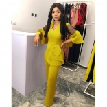 Yellow Mesh Sleeve Foral Women Jumpsuit Dress