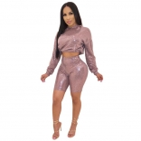 Pink Long Sleeve Gliding 2PCS Bodycons Pant Sets
