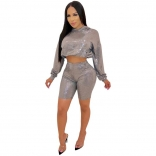 Silver Long Sleeve Gliding 2PCS Bodycons Pant Sets